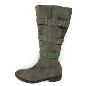Matisse Tall Riding Boots Grey Suede 3 Strap 8.5
